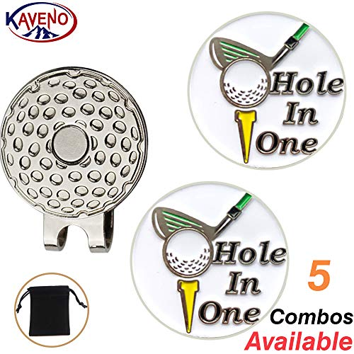 kaveno Golf Ball Marker with Strong Magnetic Golf Hat Clip, Great Gift for Any Occasion PremiumCollection (Hole in One) -