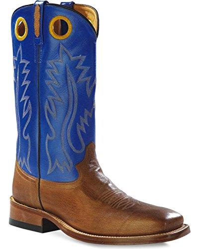 Oude West Heren Ronde Gat Tweekleurige Western-cowboy Laars Vierkante Teen - Bsm1845 Tan