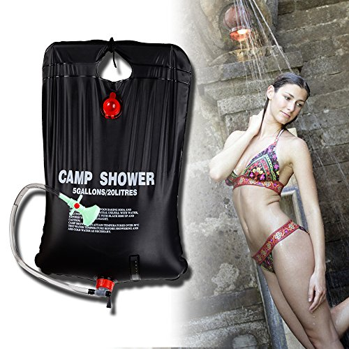 RISEPRO Solar Shower Bag, 5 gallons/20L Solar Heating Camping Shower Bag Temperature Indicator Hot Water 45°C Hiking Climbing C1004