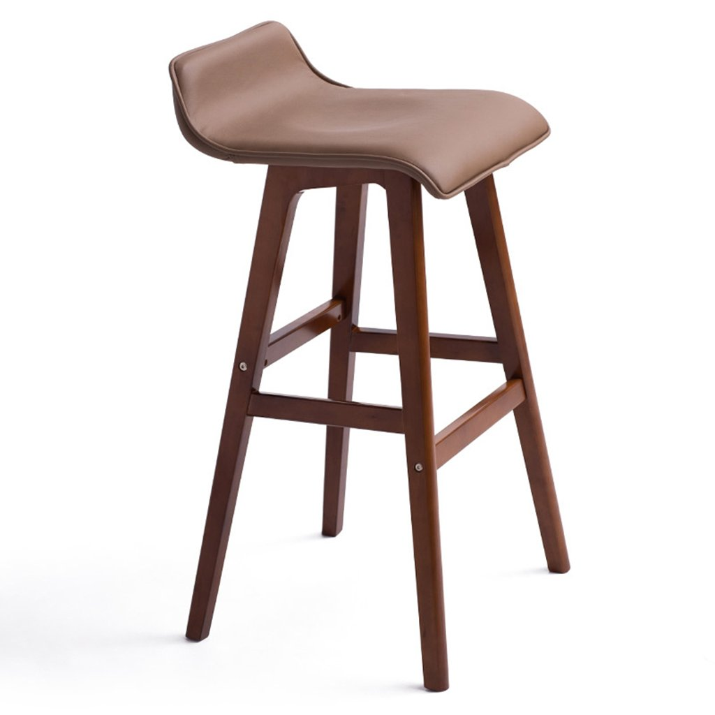 BROWN B-74cm SYF Barstools European Minimalist Retro Solid Wood Artificial Leather Cushion Bar Front Desk Seat Bench Bar Stool Height 65 cm and 74 cm A+ (color   Brown, Size   B-65CM)