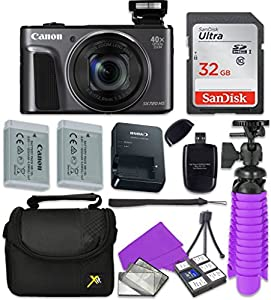 Canon PowerShot SX720 HS Wi-Fi Digital Camera with Sandisk 32 GB SD Memory Card + Extra Battery + Tripod + Case + Card Reader + Cleaning Kit