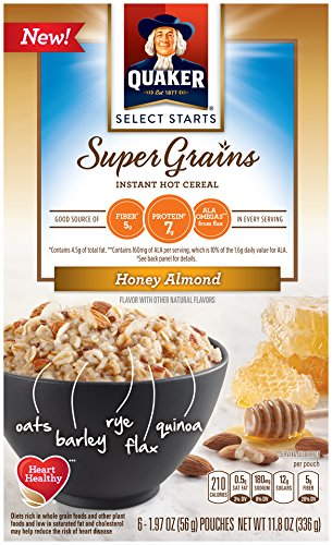 Quaker Instant Oatmeal Select Starts Super Grains, Honey Almond, 6 Packets