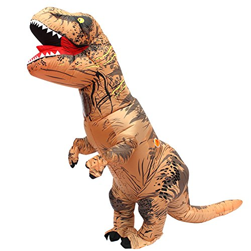 Inflatable Adult Dinosaur T-Rex Costume Suit Fancy Dress Halloween (Brown)