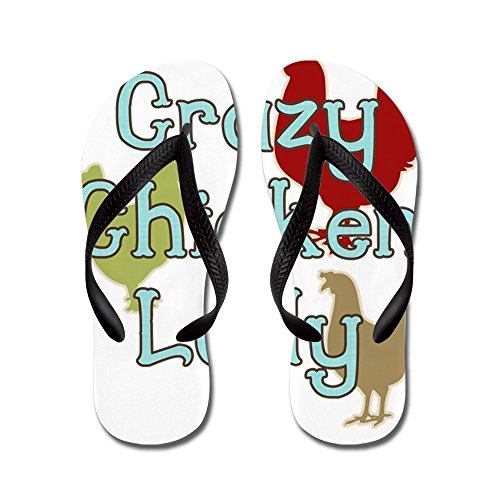 CafePress Crazy Chicken Lady - Flip Flops, Funny Thong Sandals, Beach Sandals Black