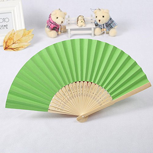 Gotian Pattern Folding Dance Wedding Party Lace Silk Folding Hand Held Solid Color Fan Hand Held Fan Folding Fan with Wooden Ribs for Wedding Dancing Party (Green)]()