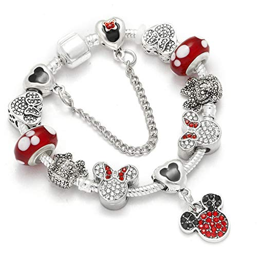 (Gift for Girlfriend Dropshipping Warm Sale Fashion Handmade Mickey Minnie Appeal Bracelets Fit Fine Bracelet For ladies Kids DIY Jewelry Present Decoration)