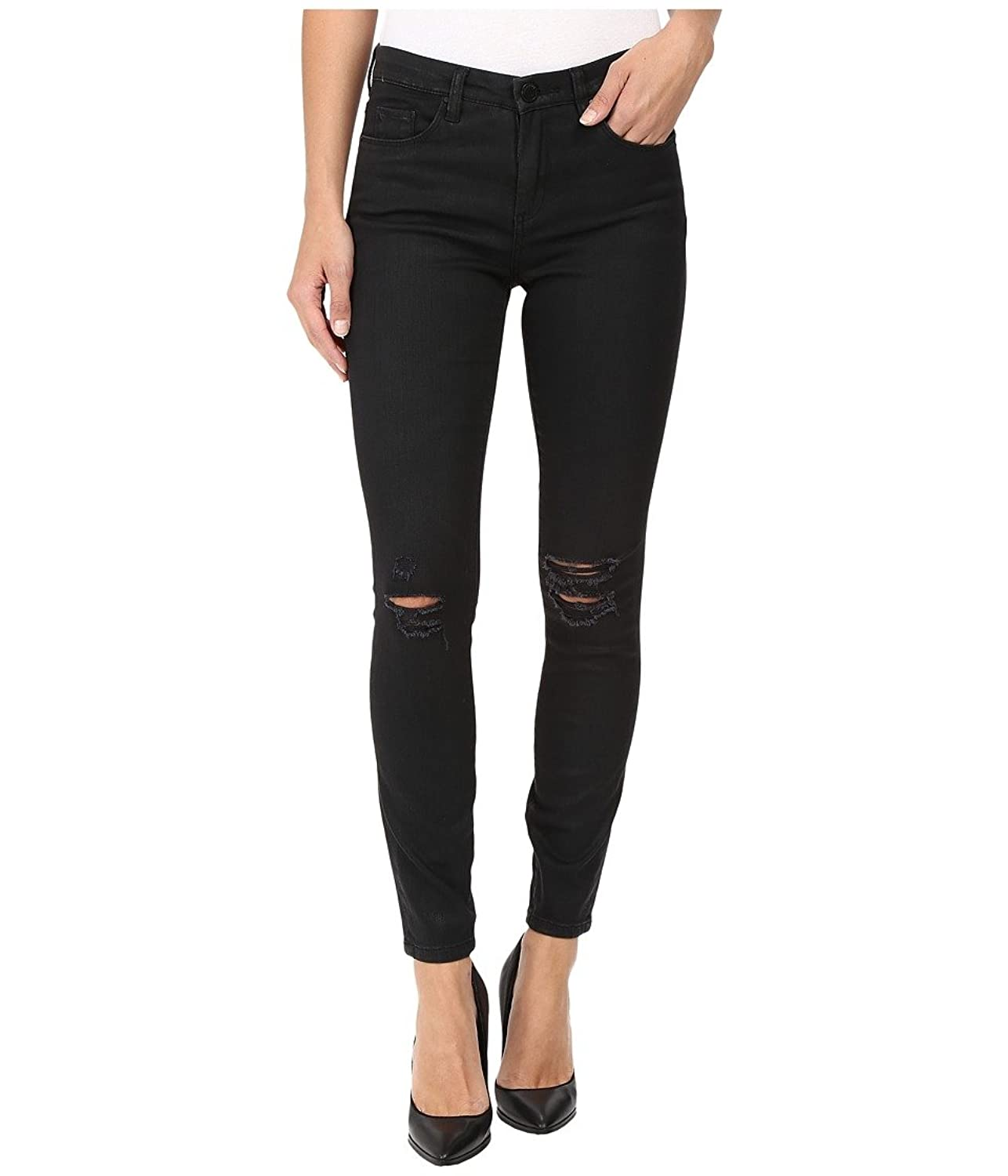 Blank NYC Women's Black Coated Skinny in All Lacquered Up All Lacquered Up Jeans 25 X 28