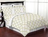 Sweet Jojo Designs 3-Piece Modern White and Gold Trellis Lattice Girls Full / Queen Bedding Set Collection