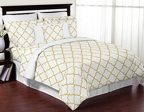 Modern White and Gold Trellis Lattice 3 Piece Bed in a Bag King Bedding Set Collection (Select Comfort King Size Bed Dimensions)