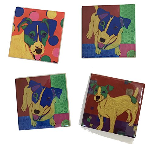 Jumping Jack Collectible - Jumping Jack Russell Tile Art Coaster Set, Dog Art Coasters by Angela Bond Art