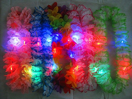 Light Up Flashing Hawaiian Leis - 12 Pack - Tons of fun for that next big party!