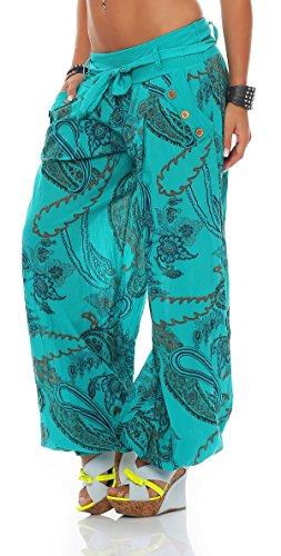 ZARMEXX Mujer Bombachos Pantalones Harén Pantalones de verano Pluder Aladin Bañador de playa Ornamento-imprimir Pantalones de algodón Turquesa