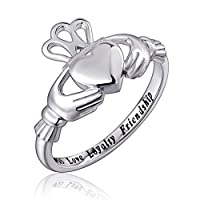 925 Sterling Silver Faith Hope Love Irish Ladies' Claddagh Ring, Size 6 7 8 9