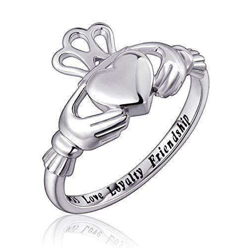 925 Sterling Silver Love Loyalty Friendship Irish Ladies' Claddagh Ring, Size 6