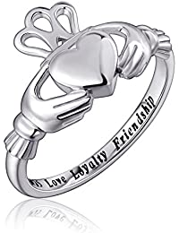 S925 Sterling Silver Love Loyalty Friendship Irish Ladies' Claddagh Ring, Size 5 6 7 8 9 10