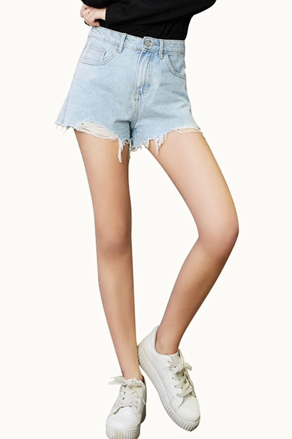 ASide BSide Womens Raw Hem Jean Shorts Ripped Hole Casual Fit Denim Stretchy Hot