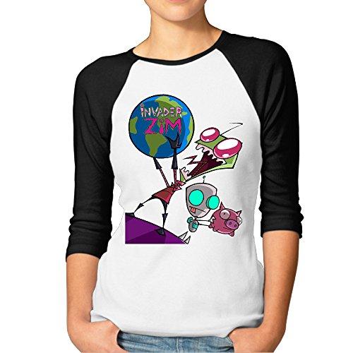ElishaJ Women's Raglan Tee Baseball Shirt Invader Animezim Gir Black Size XXL -