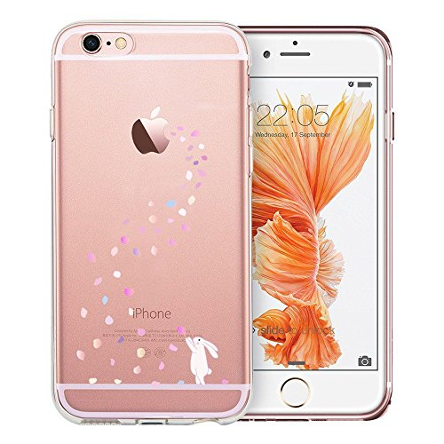 Floral Bunny - Unov Case Clear with Design Embossed Pattern Soft TPU Bumper Shock Absorption Slim Protective Cover for iPhone 6s iPhone 6 4.7 inch(Floral Bunny)