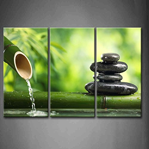 Bon 3 Panel Wall Art Green Spa Still Life With Bamboo Fountain And Zen Stone  Painting Pictures