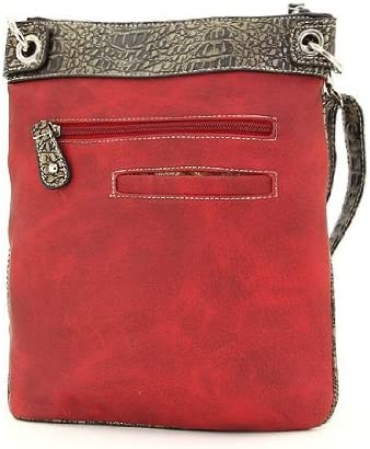 Western Rhinestone Buckle Messenger Handbag Red