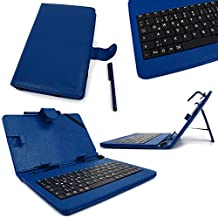 "DURAGADGET Blue Faux Leather 7"" Case With Micro USB German QWERTZ Layout Keyboard For Acer Iconia One 7 B1-730 Tablet"