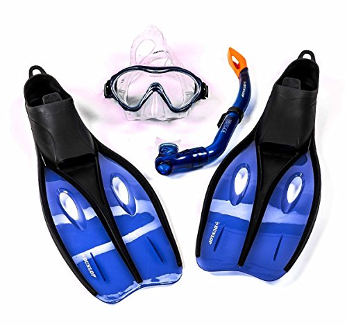 Kinder-Profi-Schnorchel-Set mit Tauchmaske, Schnorchel und Flossen, Größe S oder XS, lieferbar in den Farben blau, grün, oder orange (XS (32-34), Blau)