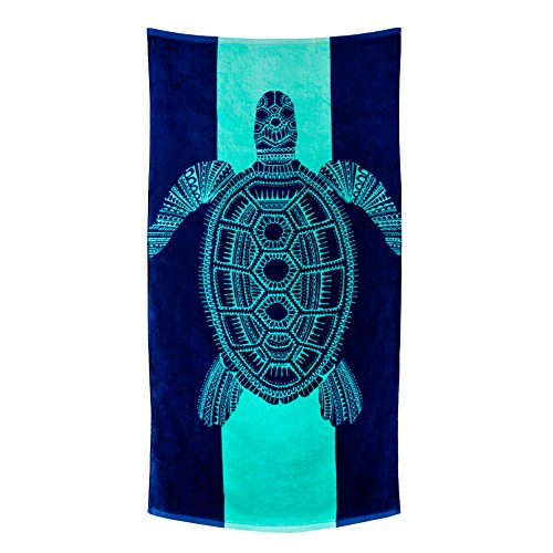 Nova Blue Turtle Beach Towel - Tropical Blue Colors With A Unique Design Extra Large (33x62) Made From 100% Cotton For Kids & Adults ()