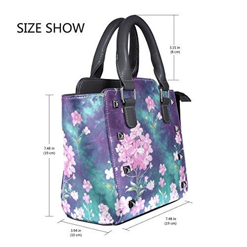 Shoulder Handbags Flowers Women's Purple TIZORAX Pink Bags Tote Leather x1F6Yn8Z