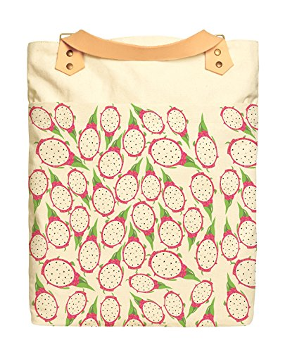 Sliced Dragon Fruit Print Cotton Canvas Leather Straps Laptop Backpack (Sliced Leather)
