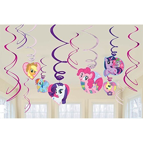My Little Pony Party Foil Hanging Swirl Decorations / Spiral Ornaments (12 PCS)- Party Supply, Party Decorations