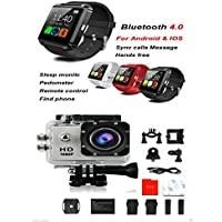 SNAPSITY SJ4000 1080P HD Silver Action Camera 2-in-1 3.0 Smart Watch Accessory GoPro Set