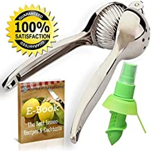 Heavy Duty Lemon Squeezer and Lime Press Juicer – Great For Juicing Citrus Fruit With It's Large Bowl - Extra Long Handles Make It Easy to Squeeze - Includes Spritzer / Mister