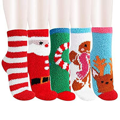5 Pack Women Girls Fuzzy Fluffy Socks, Great for Holiday Winter or Christmas,Cabin Soft Warm Slipper Crew Cute Cozy Socks (Christmas Theme): Clothing
