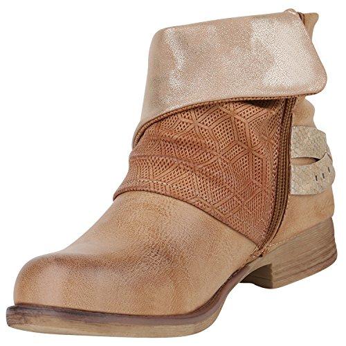 d1af466eab2b44 Stiefelparadies Stylische Damen Stiefeletten Stiefel Biker Boots Metallic  Nieten Flandell Hellbraun Glitzer ...