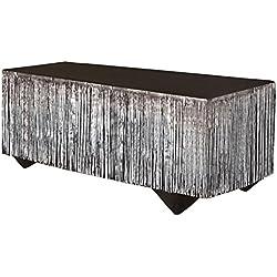 """Forum Novelties 76193 Tinsel Fringe Table Skirt, 144"""" x 29"""", Silver"""