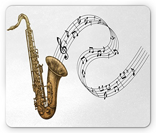 Saxophone Mouse Pad by Lunarable, Jazz Blues Concert Band Rock and Roll Clarinet Pop Punk Retro Artful Tempo, Standard Size Rectangle Non-Slip Rubber Mousepad, Gold Dark Brown (Punk Rock Mouse Pad)