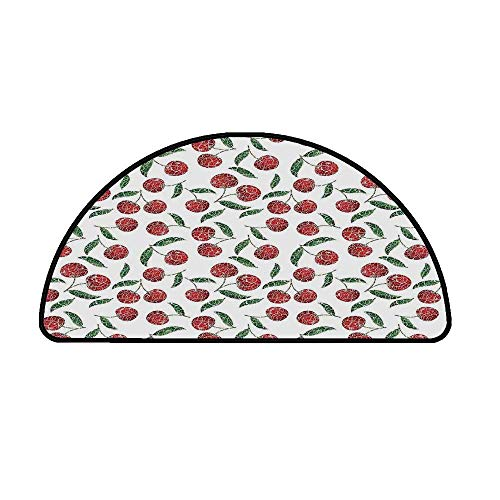 Garden Decor Comfortable Semicircle Mat,Grunge Mosaic Style Cherries Seasonal Ripe Sweet Fruits Fresh Orchard Harvest for Living Room,17.7
