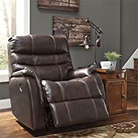 Ashley Bridger 3930098 36 Power Rocker Recliner with Triple-Tier Back Jumbo Stitching Wrapped Padded Arms and Leather Match Upholstery in Walnut