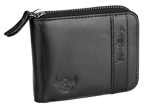 Admetus Men's Genuine Leather Bifold Zip-around Wallet with Elegant Gift Box Black 4 ()