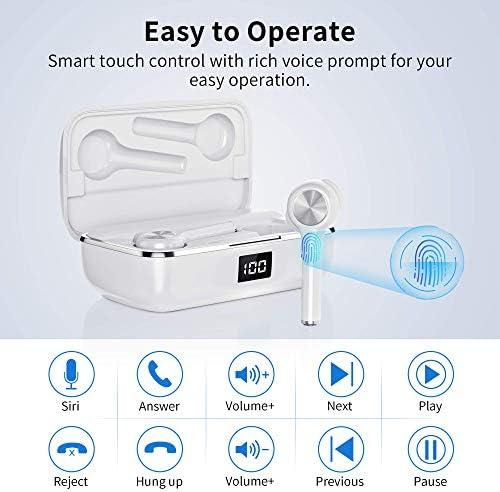 Écouteurs Bluetooth Sans Fil,ecouteur bluetooth 5.0 Contrôle Tactile ecouteurs sans fil avec Étui Chargement et Microphones HD Réduction du Bruit CVC8.0 Casque Bluetooth Sport pour Smartphone iPhone