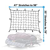 Cargo Net Bungee Large Nets Stretches to 98''x 78'' Holds more than 300 lbs Load,14 Adjustable Hooks-Easily adaptable to Pickup Truck Bed and SUV Rooftop Travel luggage Rack (Black)