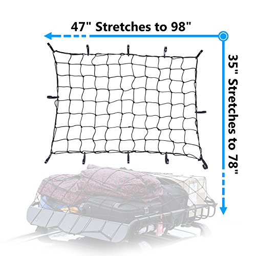 Cargo Net Bungee Large Nets Stretches to 98''x 78'' Holds more than 300 lbs Load,14 Adjustable Hooks-Easily adaptable to Pickup Truck Bed and SUV Rooftop Travel luggage Rack (Black) by Plohee