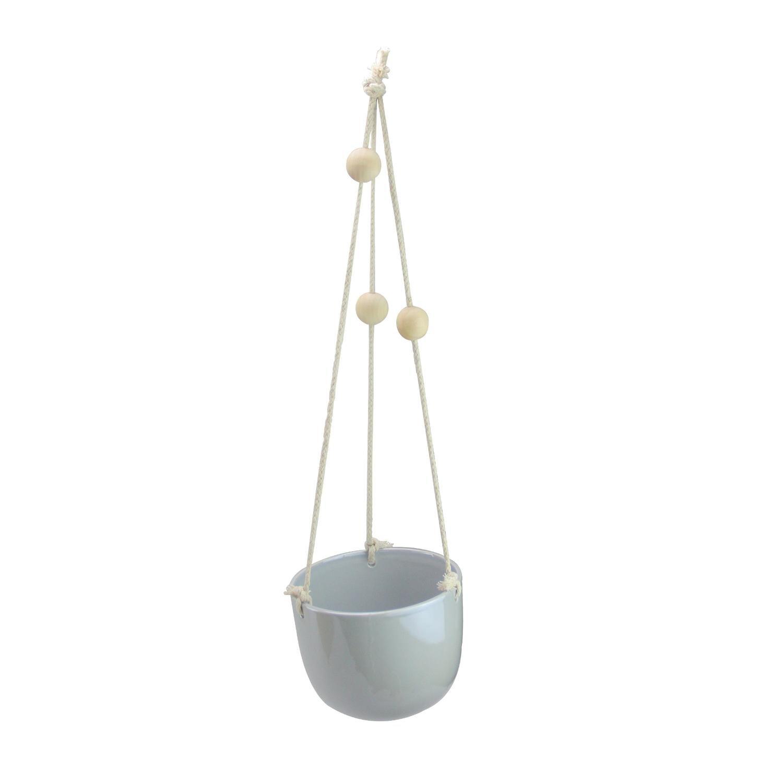 5'' Spring Time Light Gray Decorative Hanging Rope Ceramic Planter