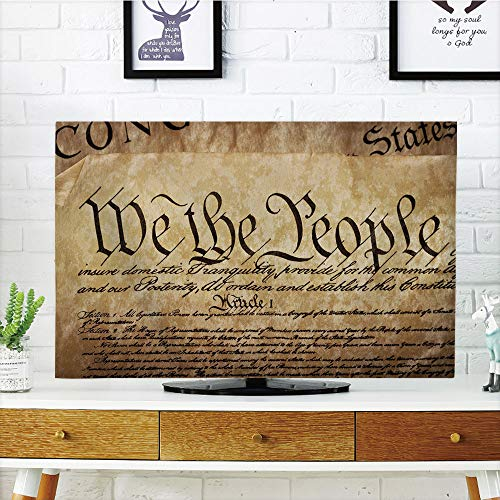 iPrint LCD TV dust Cover,United States,Vintage Constitution Text of America National Glory Fourth of July Image,Light Brown,3D Print Design Compatible 70