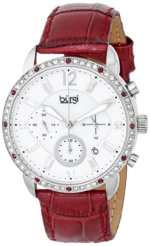 Burgi Women's BUR089BUR Silver Chronograph Quartz Watch with White Mother of Pearl and White Dial With Wine Leather Strap - White Mother Of Pearl Chronograph