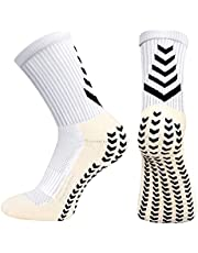 HUANLANG Anti Slip Soccer Socks Mens Athletic Grip Socks Non-slip Sports Sock Anti Blister Socks with Grips Unisex 2 Pairs