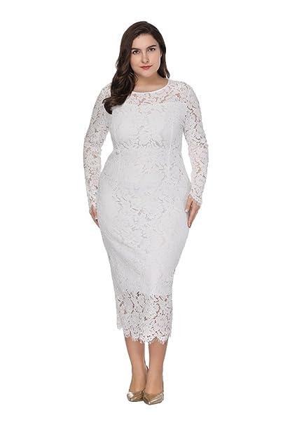 ZhuiKun Vestidos Tallas Grandes Mujeres Encaje Manga Larga Vestido de Fiesta Coctel Blanco XL