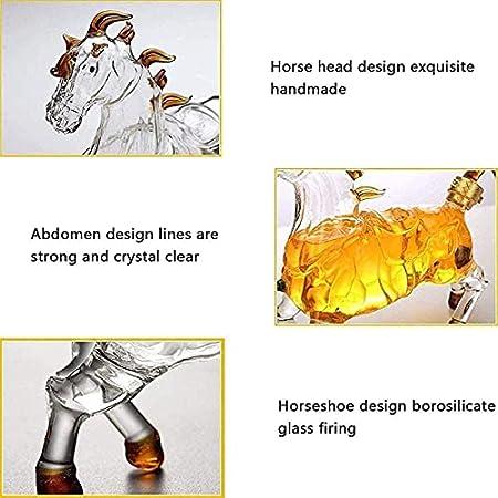 SH-JTL Decantador De Whisky De Caballo, Aireador De Vino Transparente De Cristal Sin Plomo De 1000 Ml, para Whisky, Ron Escocés, Tequila