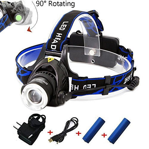 Rechargeable Headlamp,1800 Lumens Zoomable Waterproof LED head lamp flshlight , Hands-free Headlight Torch Lamp for Hunting Hiking Camping Fishing Reading Running Cycling by EOTO LIGHT
