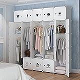 KOUSI Portable Clothes Closet Wardrobe Bedroom Armoire Dresser Cube Storage Organizer, Capacious & Customizable, White, 10 Cubes & 5 Hanging Clothes